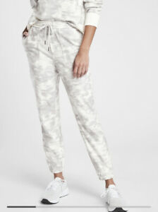 New! ATHLETA Farallon Printed Jogger Inversion Light Grey Pants Size 8 #657547
