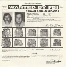 FBI WANTED POSTER RONALD GERALD MIRANDA-INTERSTATE FLIGHT-MURDER 2-5-81
