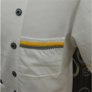 Men Chef Coat Cooking Uniform Short Sleeve Jacket Kitchen T-Shirt Cook Work Tops