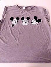 Primark Womens Girls Nightwear Light Grey Mickey Mouse Pyjama Top UK Size 20
