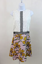 NEW RIVER ISLAND WHITE EYELET EXPOSED ZIPPER FLORAL SKIRT DRESS SZ 14 UK 18 NWT
