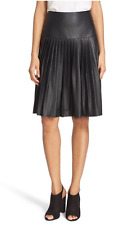 NWT Rebecca Taylor Black Vegan Faux Leather Pleated Skirt Size 0 Midi