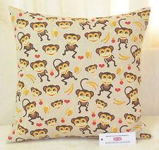 "CUSHION COVER 17""x17"" 43cm sq. Cheeky Monkey Design Beige, Brown, Red, Yellow"