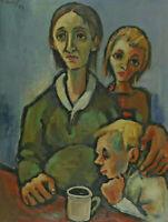 Signiert H Graf - Vater Mutter und Sohn an einem Tisch