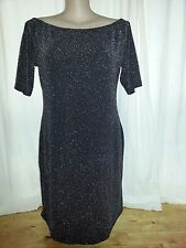 Black Silver metallic off the shoulder stretch party celebration dress 18