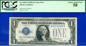 FR-1601* - 1928-A $1 S/C (( Blue Seal - STAR )) PCGS About New 58 # *12155680A-