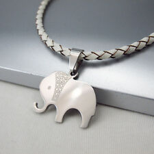 Silver Animal Elephant Stainless Steel Pendant Braided White Leather Necklace