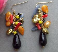 KE072417 Keshi Pearl Onyx Coral Crystal Earrings