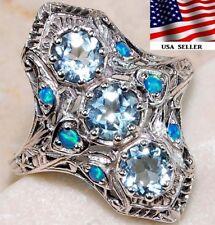 1CT Aquamarine 925 Solid Sterling Silver Art Deco Filigree Ring Jewelry Sz 7