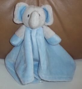 """Baby Town Elephant Blue Blankie Comforter 14"""" (36cm) Square Very Good Condition"""