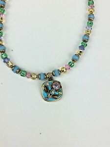 Michal Golan Floral Necklace Pendant Beaded Teal Gold Flower Handmade