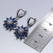 Madagascar Blue Sapphire & White Topaz Gemstone Silver Earrings + Free Gift Box