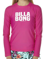 "NEW + TAG BILLABONG GIRLS (12) WET SHIRT RASH VEST RASHIE ""WASHAWAY"" LONG SLEEVE"