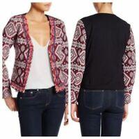 OoberSwank Womens L Blazer Jacket Multicolor Ikat Embellished Open Front NWT