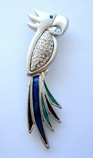 Bird Brooch Silver Tone Multi-Color Parrot Pin Enamel Crystal Christmas Gifts