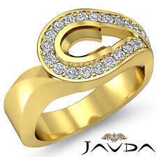 Oval Semi Mount Diamond Engagement Unique Ring 18k Yellow Gold Halo Pave 0.5Ct