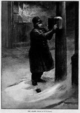 LIFE SAVING POLICEMAN PULLING FIRE ALARM BOX 1889 ANTIQUE LAW ENFORCEMENT PATROL