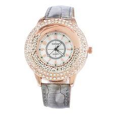 Chic Luxury Diamond Rhinestone Watch Women Leather Quartz Wristwatch Jewelry LSM