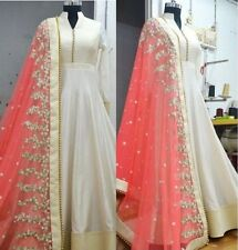 Indian Stylish Designer Bollywood Party Anarkali White Salwar Suit Kameez Dress