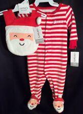 NWT Infant Boys Girls Carter's Christmas Pajamas + Bib 3M Footie Santa's Helper