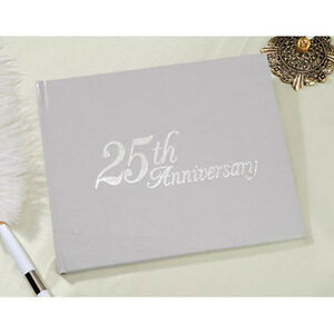 25th Anniversary Guestbook Guest Book Registry by Vitoria Lynn - Silver