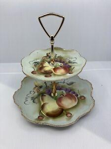 Vintage 2 Tier Lefton China Platter Handpainted Japan Has Fruit Motif No Chips