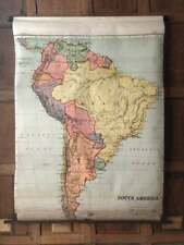 Antique South America School Map, Map Of South America Pull Down School Map