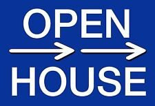 "10 12x18 CORRUGATED PLASTIC ""OPEN HOUSE"" SIGN WITH WIRE STAKE (2 SIDED BLUE)"