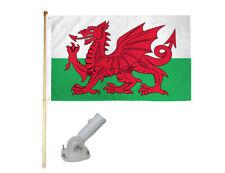 New listing 5' Wooden Flag Pole Kit W/ Nylon White Bracket 3x5 Wales Country Polyester Flag