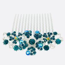 Flower Hair Comb Hairpin use Swarovski Crystal Bridal Wedding Silver Green 5-20