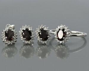925 Solid Silver Natural Garnet Gemstone Ring Earring Pendant Women Jewelry Set