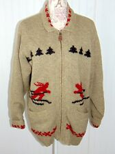 EDDIE BAUER Legends Zip Front Cardigan Ski Sweater Ski 85% Wool L