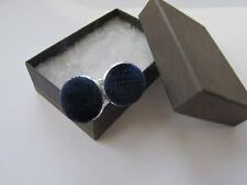 Handmade Stylish Navy Blue Corduroy Fabric Inlay Mens Cufflinks Gift Boxed