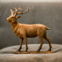 Carved Polished Wooden Standing Stag Figurine Home Decor Statue Decorative Deer