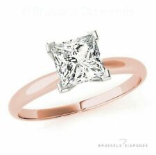0.83 Ct Two Tone Diamond Solitaire Engagement Ring Princess F/SI2 14K Rose Gold