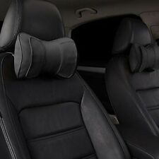 2X Genuine Leather Double Layer Car Seat Cushion Headrest Head Rest Neck Pillow