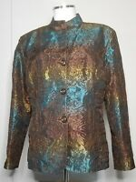Chico's Women's Evening Jacket Brown Blue Gold Mandarin Collar Size 2 (Large 12)