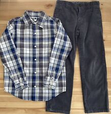JANIE AND JACK Alpine Adventure Plaid Shirt & Gray Corduroy Pants Set Size 7