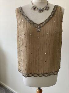 Silk Sparkle Beaded Flapper Designer Style Top Minosa 16 Petite Sleeveless BNWT