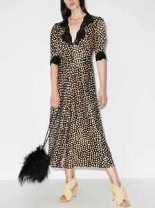 BNWT Rixo Simone Mustard Lace-trimmed Floral-print Satin Size XS L XL