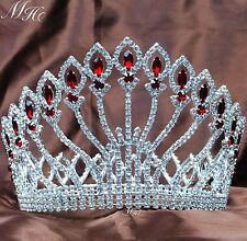 Floral Tiaras Brides Crowns Red Rhinestone Wedding Beauty Pageant Party Costumes