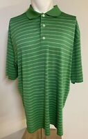 Footjoy FJ Men's Size Large Golf Polo Shirt Green Stripes