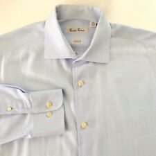 Burma Bibas Shirt Blue Herringbone Stripe Classic Fit Cotton 16-1/2-34/35