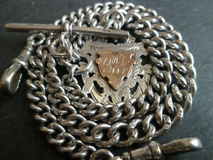 HUGE 50g CHUNKY Antique Solid Silver Double Albert Pocket Watch Chain + 9ct Fob