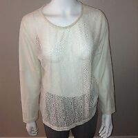 H&M Lace Top Size L Large Womens Cream Long Sleeve Shirt Blouse Boho