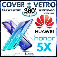 COVER TRASPARENTE + PELLICOLA VETRO TEMPERATO Per HUAWEI HONOR 5X Ultra Slim 5 X
