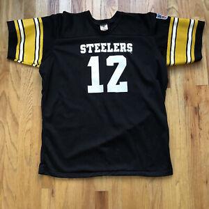 Men's Vintage 70s Rawlings Terry Bradshaw Pittsburgh Steelers Black Jersey Sz XL