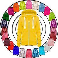 Ladies Womens Hoodie Zip Plain Sweatshirt Jacket Hooded Fleece Coat Hoody Top