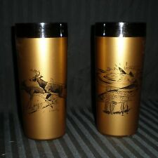 Lot of 2 NFC Patent Pending Made in USA Gold 12 oz Tumblers Fish and Deer Motifs