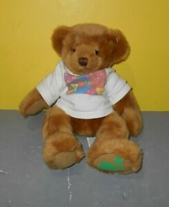"Russ Art C. Bear Bean Plush Stuffed Animal with Shirt 12"" Green Paw Print"